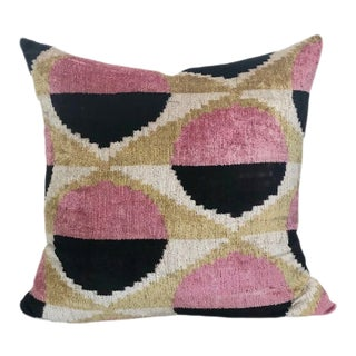 "Natural Silk Velvet Ikat Pillow - Modern Circles Pink and Black, 24"" X 24"" For Sale"