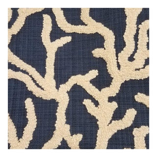 Indigo Atlantic Embroidered Fabric For Sale