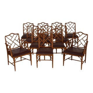1980s Vintage Faux Bamboo Chippendale Chairs- Set of 12 For Sale