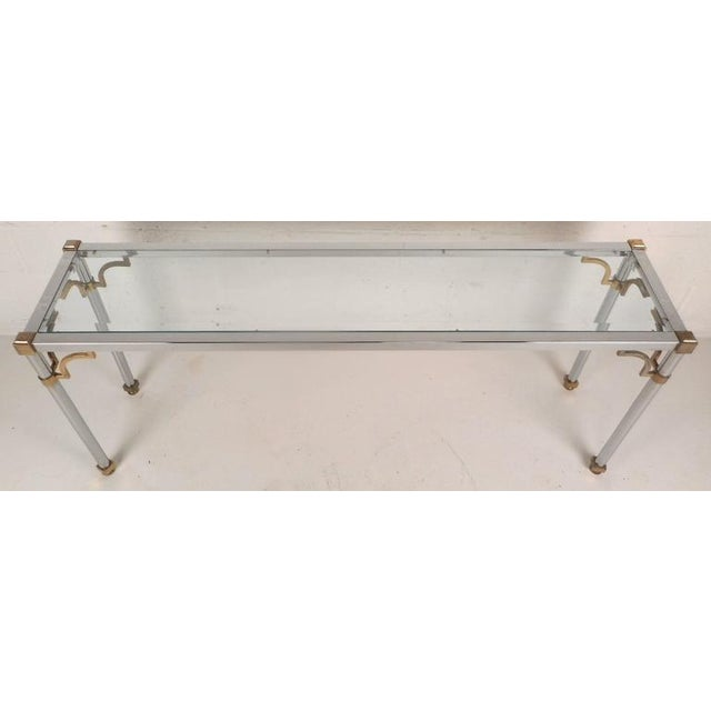 Maison Jansen Style Mid-Century Modern Chrome & Brass Console Table For Sale - Image 4 of 8