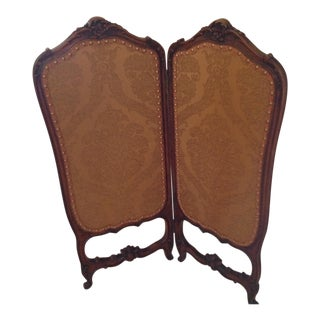 20th Century French Walnut Upholstered Screen For Sale
