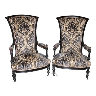 Pair of Victorian French Slipper Chairs For Sale