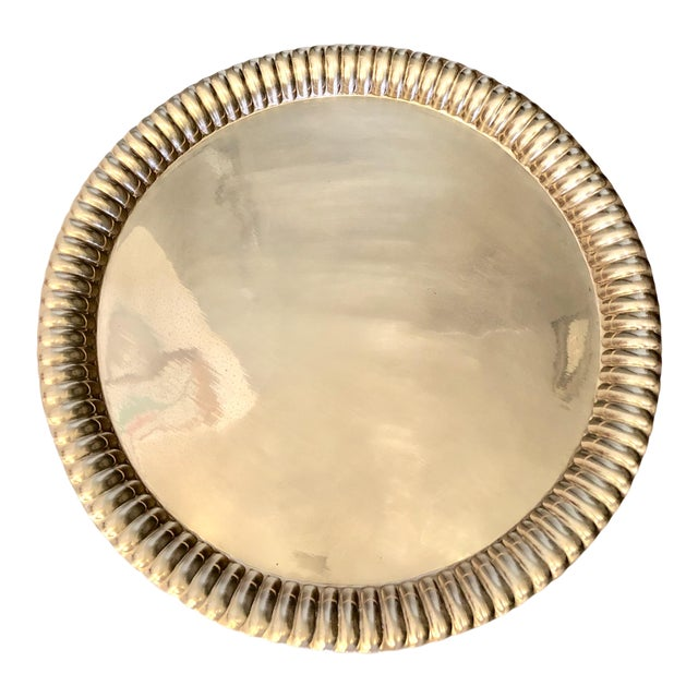 Large Vintage Brass Tray From India For Sale