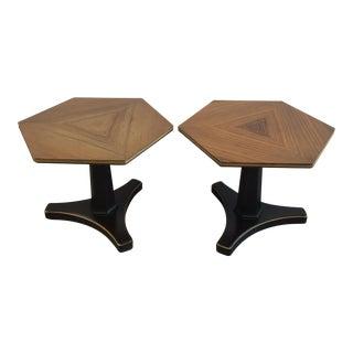 Henredon Hexagonal Walut Side Tables - A Pair For Sale