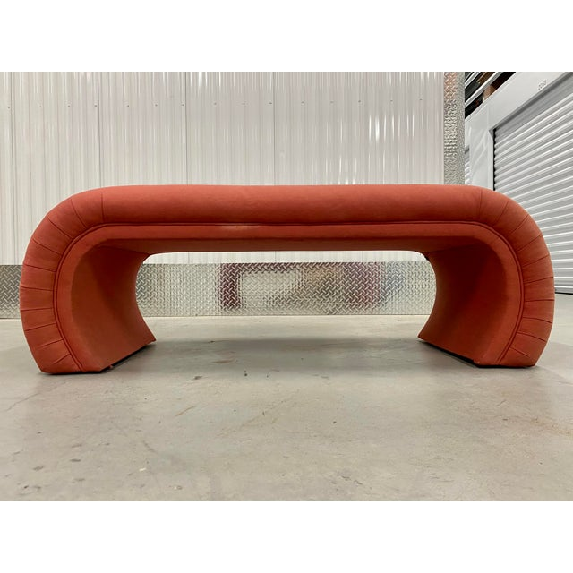 A glamorous 1980s waterfall bench by Steve Chase. Unique and artistic bench that would compliment any room in your home....