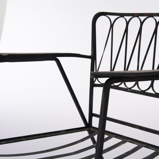 Vintage Mid Century Maurizio Tempestini for Salterini Black Wrought Iron Ribbon Lounge Chairs- a Pair For Sale In Houston - Image 6 of 9
