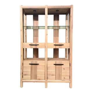 Organic Modern Natural Wood Finish Etagere/ Bar For Sale