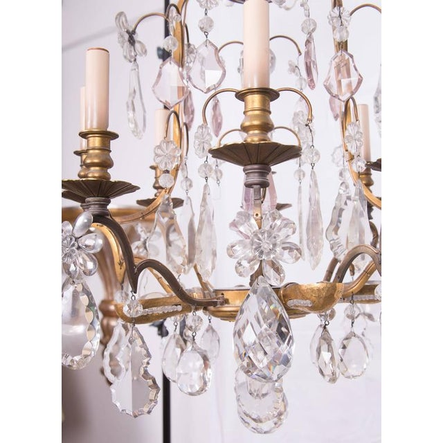 Louis XVI French Gilt Bronze and Crystal Chandelier For Sale - Image 3 of 6