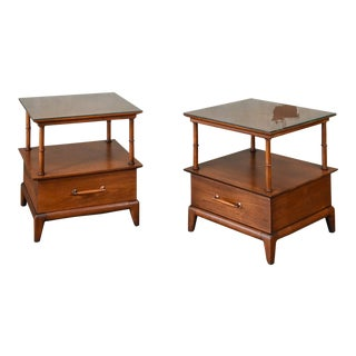 Pair of Henredon Walnut Side Tables