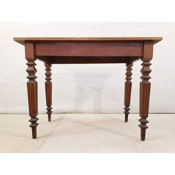 Charming antique French Neoclassical oak writing desk table with square  fluted legs. Perfect for anyone - Antique French Neoclassical Small Oak Writing Desk Table Two Tone