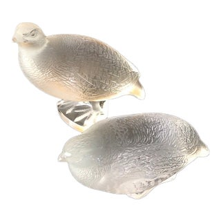 Lalique Crystal Bird Figurines - a Pair For Sale