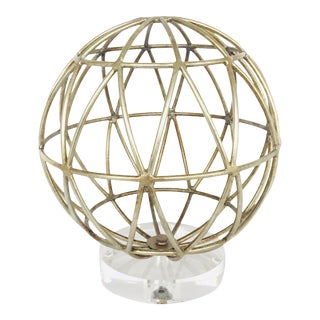 Modern Geometric Silver Finished Sphere Sculpture on Acrylic Base For Sale
