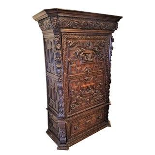 1830s French Gothic Oak Cabinet For Sale
