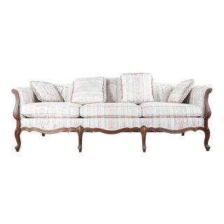 Thomasville Vintage Carved Wood Upholstered Sofa For Sale