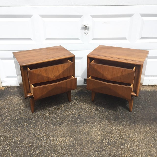 Mid-Century Diamond Front Nightstands - A Pair - Image 3 of 11