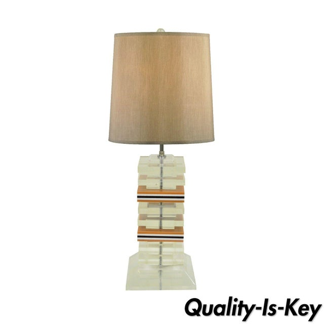 Vintage Mid Century Modern Stacked Lucite Skyscraper Table Lamp Karl Springer For Sale - Image 10 of 10