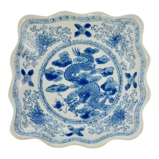 Mid 20th Century Chinese Blue Dragon Bowl For Sale