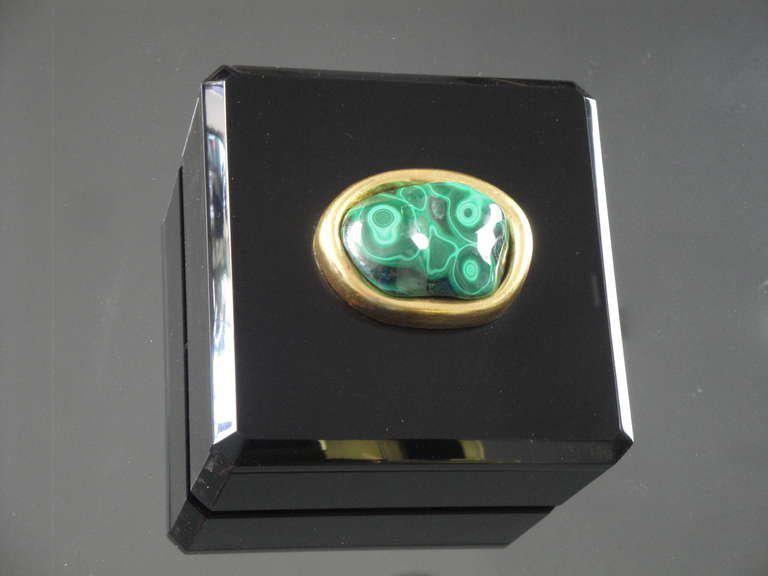 Distinguished Malachite and Black Lucite Jewelry Box DECASO