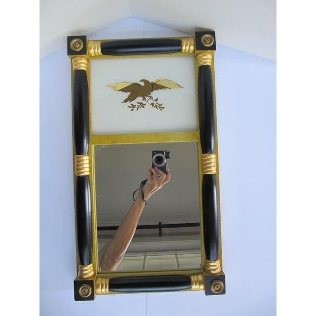 Let your style reign free with this small, reverse-painted, Federal-style mirror! Features a color palette of yellow,...