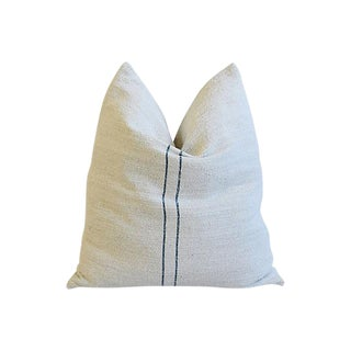 French Homespun Pale-Teal/Blue Stripe Feather/Down Pillow