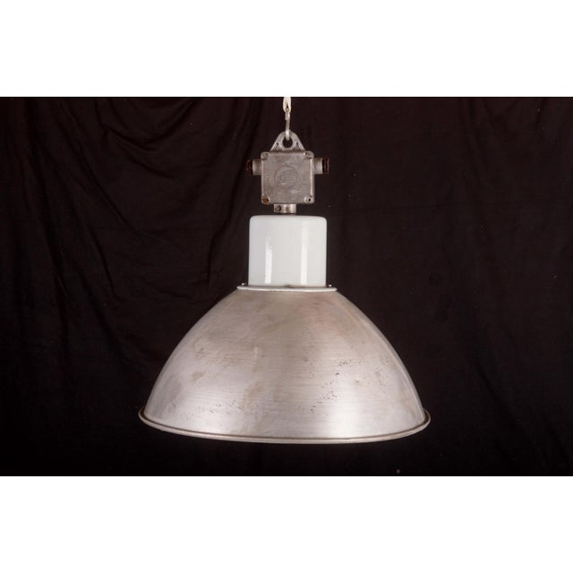 Gray Large Czech Industrial Hanging Lamp in Gray, 1960s For Sale - Image 8 of 8