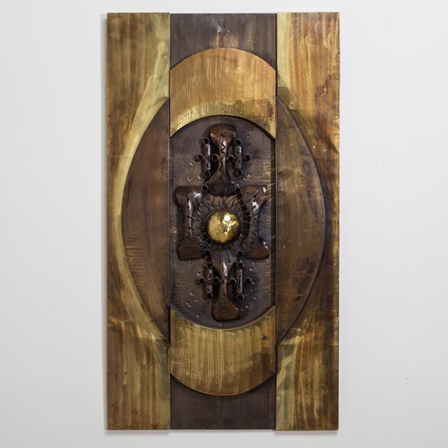 Brutalist Mixed Metal Wall Sculpture Panel, 1970s For Sale - Image 4 of 4