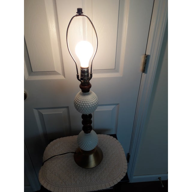 1960s Mid Century Hobnail Milk Glass Table Lamp Brushed Gold Base For Sale - Image 5 of 6