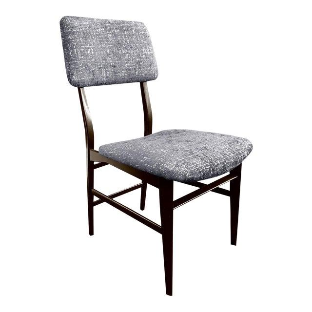 Midcentury Italian Vittorio Dassi Wood Frame Dining Chair in Steel Blue Velvet For Sale