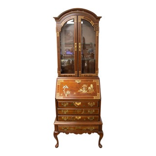 20th Century Chinoiserie Jasper Cabinet Hand Carved Fruitwood Display Cabinet For Sale
