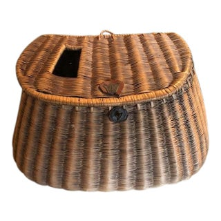 Wicker Fishing Creel Basket For Sale