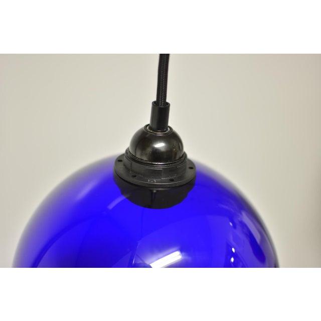 Mid-Century Modern Blue Glass Pendant Light - Image 5 of 6