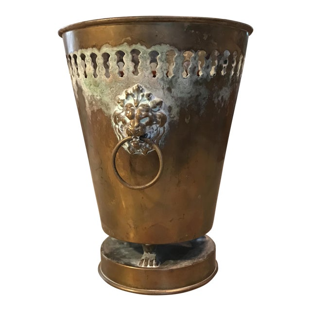 Vintage Brass Planter With Lion Head Knockers - Image 1 of 11