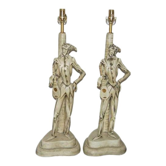 Italian Ceramic Harlequin Table Lamps by Carron For Sale
