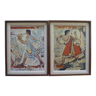 Vintage Etruscan Musicians Fresco Lithographs - A Pair