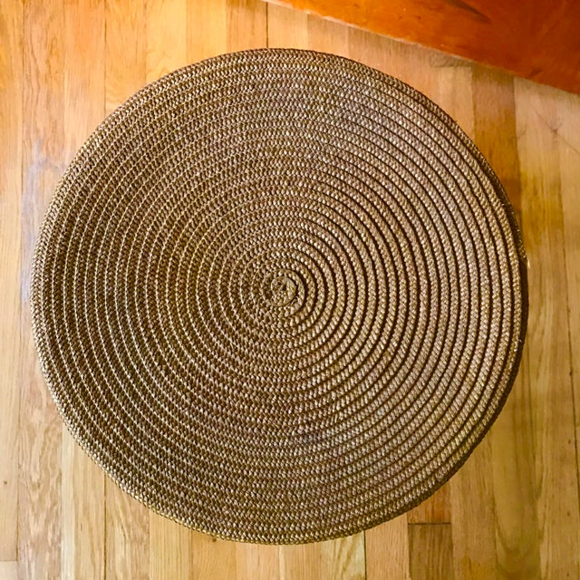 Brutalist Mid Century Woven Accent Table For Sale - Image 3 of 7