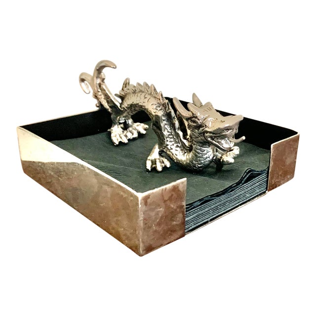 Natori Chinoiserie Dragon Stainless Steel Cocktail Napkin Holder For Sale