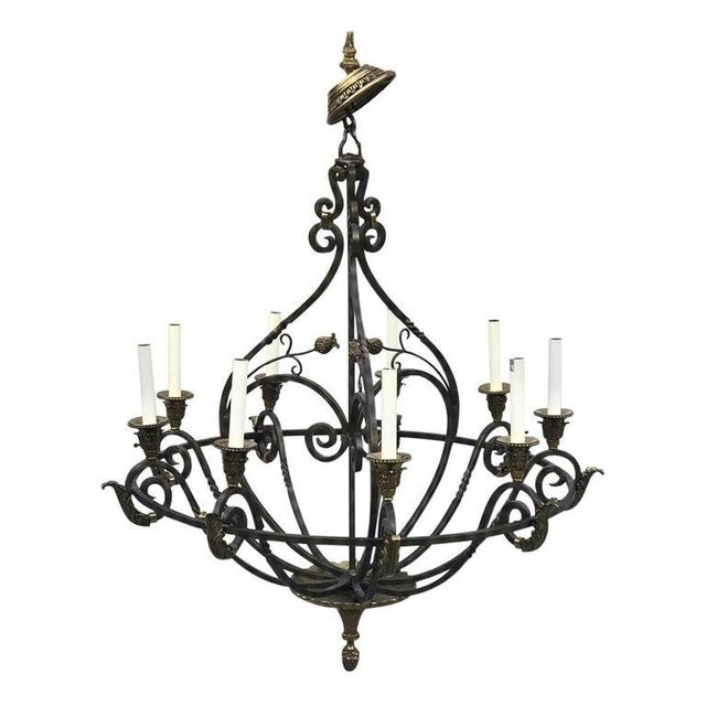 Metal Neoclassical Wrought Iron & Brass Orb 8-Light Chandelier, by Maitland Smith For Sale - Image 7 of 7