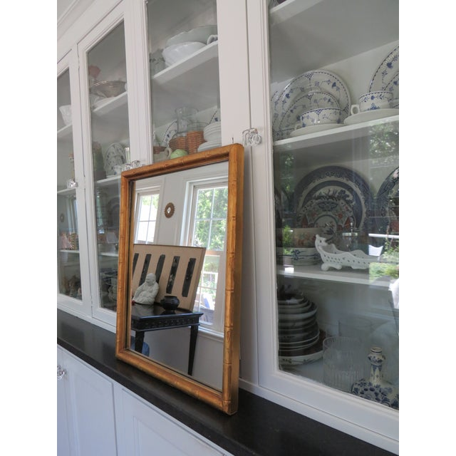 Vintage Palm Beach Style Gilt Faux Bamboo Rectangular Mirror For Sale - Image 4 of 13