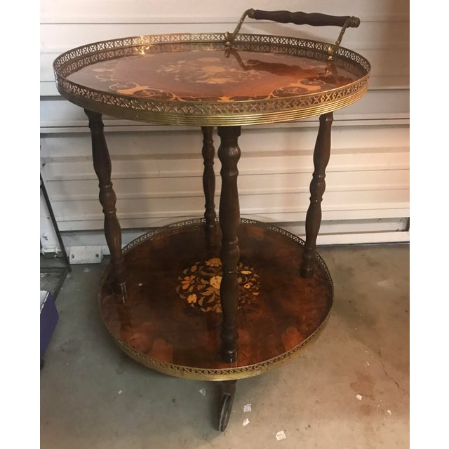 Gold 1970s Italian Marquetry Wood and Brass Bar Cart For Sale - Image 8 of 8