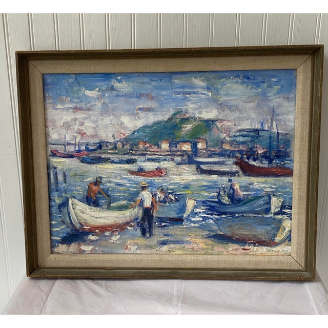 """Midcentury French Oil Painting on Canvas, """"Saint-Tropez, France"""" - 1962 For Sale - Image 13 of 13"""