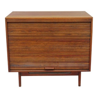 1960s Danish Modern Cabinet With Vertical Tambour Door