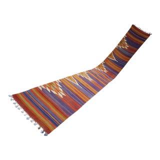 1970s Vintage Handmade Turkish Kilim Rug Runner - 2′4″ × 16′9″ For Sale