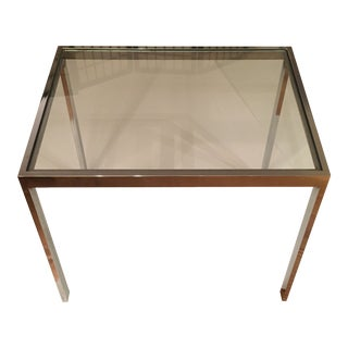 Midcentury Milo Baughman for Dia Chrome and Glass Side Table For Sale