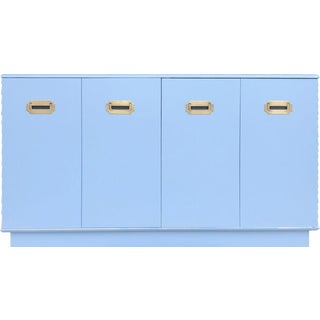 1960s Campaign Style Mid-Century Modern Credenza in Blue For Sale
