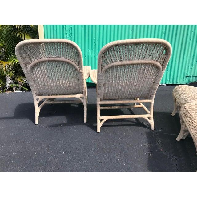 Coastal Vintage Coastal Wicker Sling Back Chairs and Ottomans-A Pair For Sale - Image 3 of 13