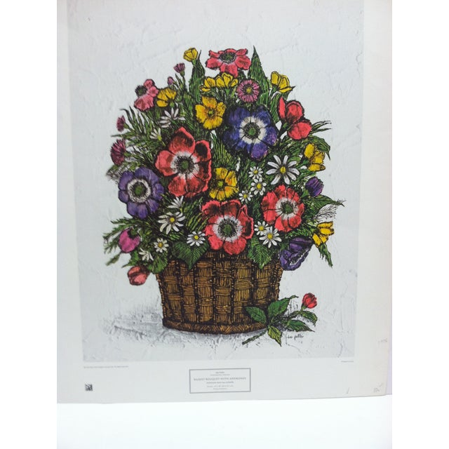 "This is a New York Graphic Society Floral Print that is titled ""Basket Bouquet with Anemones"" by Ida Pellei. The Print is..."