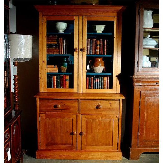 Pine Bookcase Cupboard with Drawers For Sale - Image 5 of 7