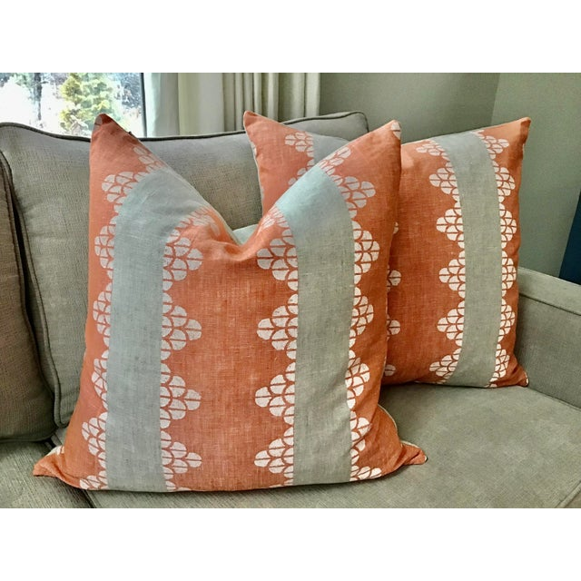 """Thibaut Boho Chic Thibaut """"Dhara Stripe"""" in Orange and Natural Down Filled Pillows - a Pair, 22"""" For Sale - Image 4 of 4"""