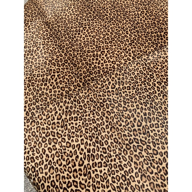 Vintage French Leopard Leather Ottoman Coffee Table, 1910s For Sale - Image 10 of 13
