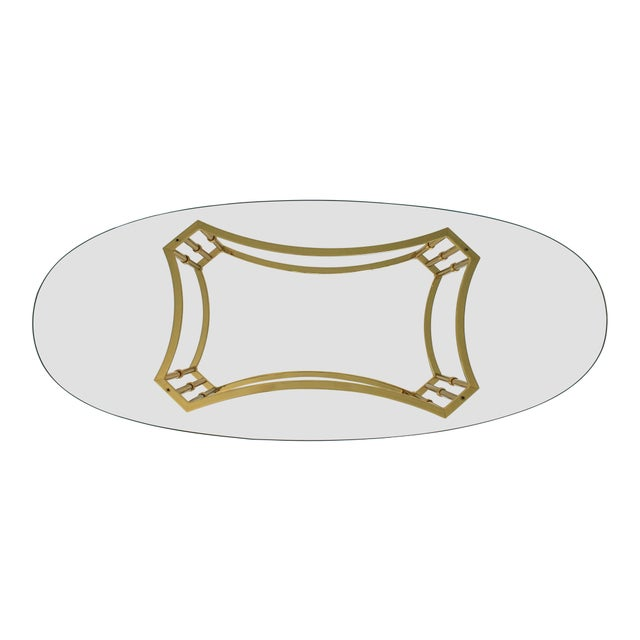Oval Brass & Glass Coffee Table For Sale - Image 4 of 8